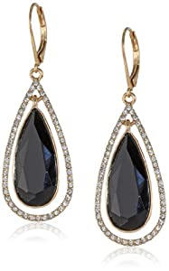 "Anne Klein ""Merry and Bright"" Gold-Tone, Jet and Pave Leverback Teardrop Earrings"