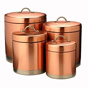 Old Dutch International Satin Copper Canister Set