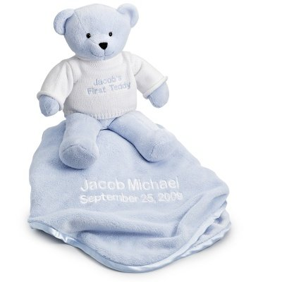 Personalized Embroidered Stuffed Bear & Blanket - Blue front-323404