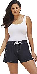 swimsuitsforall Women\'s Plus Size Nylon Board Short 24 Black