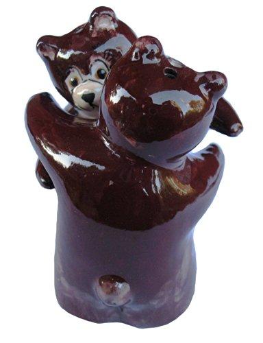 Hugging Bears Salt & Pepper Shaker Set (Brown Bears) - Hand Painted From Spain