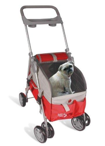Red Pet Dog Cat 3 In 1 Deluxe Pet Stroller front-703320