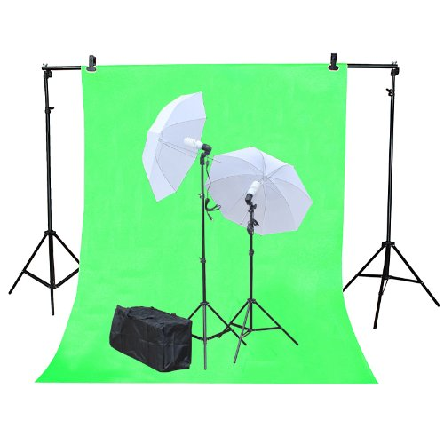 Studio Photography Photo Background Support Stand 2.3m (H) x 3m (W) with 2 Translucent Umbrella Lights Free 3m x 6m Green Muslin Screen and Carrying Bag