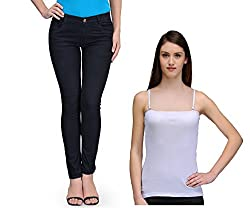 Oleva Women combo set of 2 (denim Black jeans and White spaghetti ) ONC-14_38