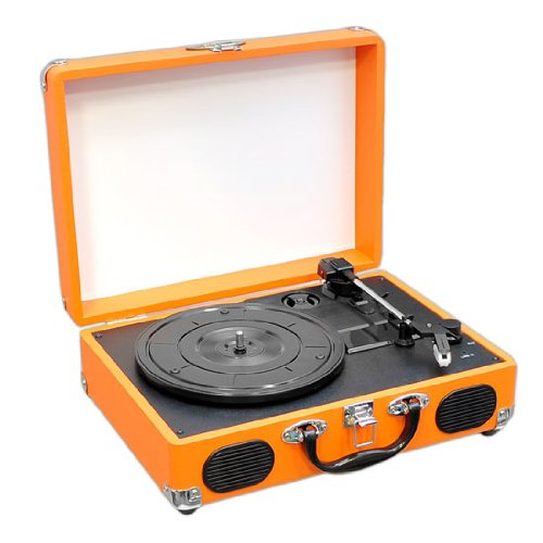 Pyle Pvtt2Uor Retro Belt-Drive Turntable With Usb-To-Pc Connection With Built-In Rechargeable Battery (Orange)