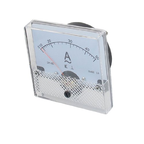 Class 2.5 Accuracy Ac 0-50A Square Analog Panel Meter Ammeter White