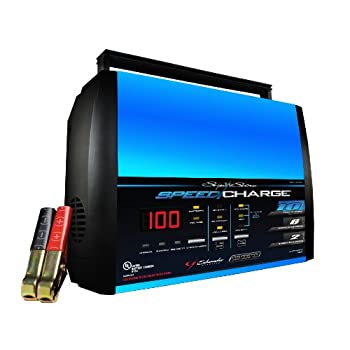 This automatic speed battery charger has a 10-amp fast charge self-adjustment feature which monitors battery condition and adjusts charge rate to prevent battery damage to your car, truck marine and farm equipment, gel cell, and deep-cycle batteries....