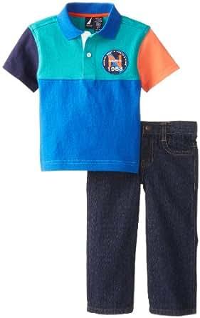 Nautica Little Boys' Short Sleeve Woven Denim Set, Blue Jean, 4T