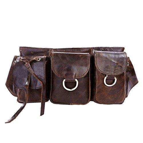 Winkine Real Leather Vintage Waist Pack Belt Pouch Pocket Bag(Dark Brown)