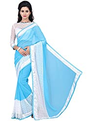 Vatsla Women's Georgette Heavy Border Saree With Beautiful Fancy Blouse Piece(RASALSKYSAREE_SKYBLUE_WHITE_COLOR)