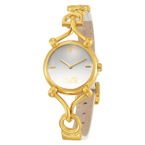 D&G Ladies Watch DW0500 Flock Quartz with White Dial and White Leather Strap