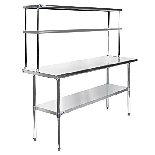 gridmann nsf stainless steel commercial kitchen prep work table plus a 2 tier shelf 60 in x 12 in restaurant top choice. beautiful ideas. Home Design Ideas