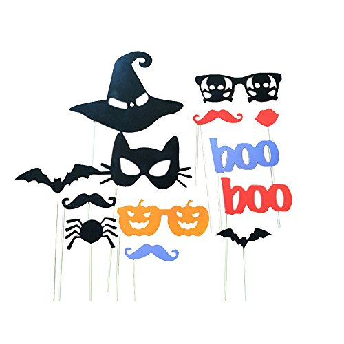 Sandistore 13pcs DIY Photo Booth Props Moustaches On A Stick Halloween Party