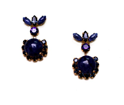 'Rainy Skies' Collection by Israeli Amaro Jewelry Studio 24K Rose Gold Plated Post Earrings Set with Lapis Lazuli and Swarovski Crystals