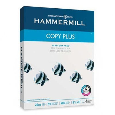 Hammermill Copy Plus Multipurpose/Fax/Laser/Inkjet Printer Paper, Letter Size (8.5 x 11), 92 Brightness, 20 lb, Acid Free, Ream, 500 Total Sheets (105007)