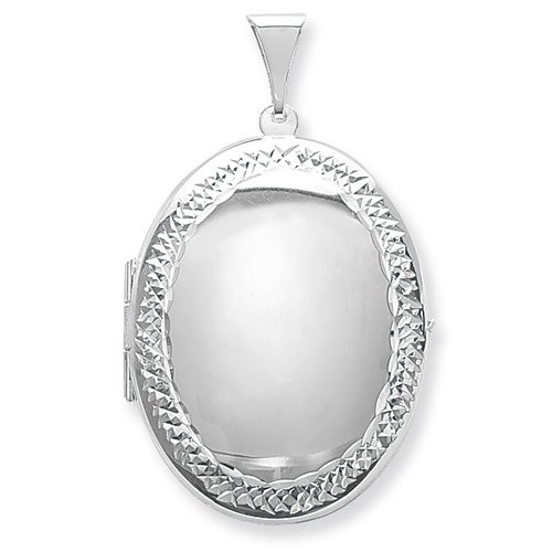 Sterling Silver Large Engraved Edge Oval Locket On A 16 Inch Snake Necklace