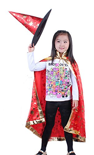 Biwinky Unisex Halloween Children Cloak Costumes Magician Witch Hat Suit