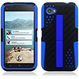HTC First / M4 [AT&T] Hybrid Double Layer Armor Case w/ Built-in Kickstand ((Blue / Black))