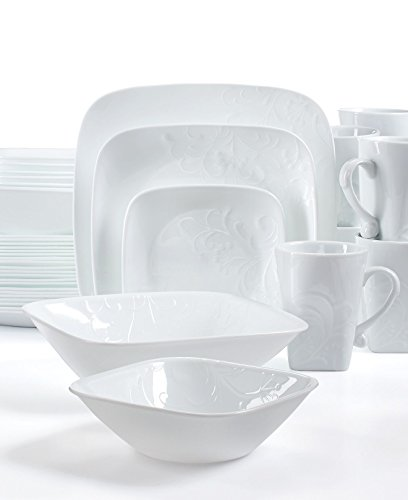 White Dinnerware 42 Piece Set Including Serving Bowls Plates Cups Dishes Corelle Boutique Cherish Embossed Square Stackable And Lightweight Dishwasher Freezer Oven And Microwave Safe Made Of Glass And Porcelain