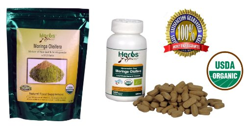 Herbs India Bundle - 2 Items: Mixture Of Freeze Dried Moringa Leaf (Oleifera Leaves) And Seed Powder In Recommended Ratio Of 97:3, 8 Ounce (1/2 Lb) And Moringa Oleifera Leaf Tablets 1000Mg(100 Count) - 100% Usda Certified Organic