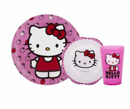 Hello Kitty 3Piece Mealtime Set Plate, Bowl & Tumbler front-726985