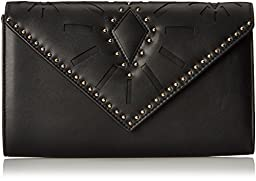 Aldo Asumcia Envelope Clutch, Black Leather, One Size