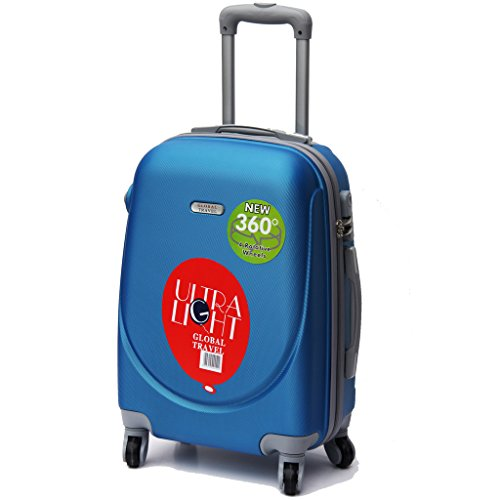 BLUE HARD SHELL ABS 20 CARRY ON HAND SPINNER LUGGAGE TROLLEY CABIN APPROVED SUITCASE