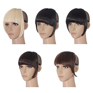 Colorful Women Front Neat Straight Bangs Smooth Extensions Fringe Wig Clip Gril Lady and Woman App.24cm
