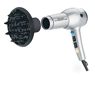Revlon RV544 1875 Watt Tourmaline Ionic Lightweight Dryer, Silver/Black by Revlon