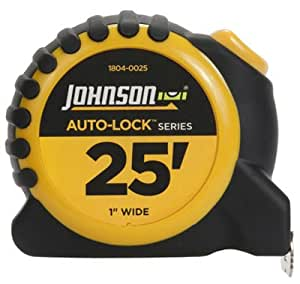 Johnson Level & Tool 1804-0025 Auto-Lock Power Tape Measure, Rubberized Case, 1-In. x 25-Ft. - Quantity 4