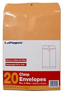 LePage's Clasp Envelopes, 9 x 12 Inch, 20 pack (GLD11514)