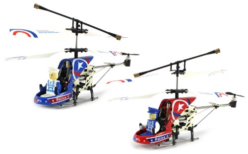 (Combo) Police Sky Star Electric Rc Helicopter 2-Pack Combo Deal, Gyroscope 3.5Ch Led Infrared Ready To Fly Rtf (Blue, Red)