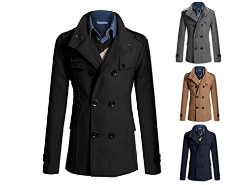 Junsi da uomo giacca invernale lana cappotto doppiopetto casual Lapel Sottile caldo cappotto colore nero taglia 3X L