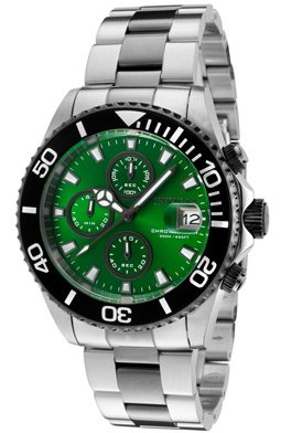 Invicta Pro Diver Men's Quartz Watch with Green Dial Chronograph Display and Silver Stainless Steel Bracelet 10501