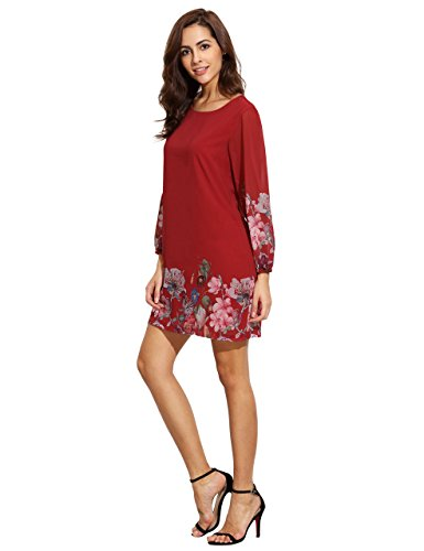 Floerns Women's Chiffon Floral Long Sleeve Shift Dress Red XL