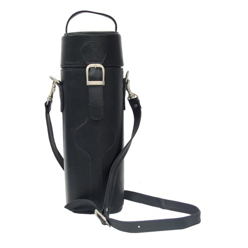 B002GH86Y2 Piel Leather Single Deluxe Wine Carrier, Black, One Size
