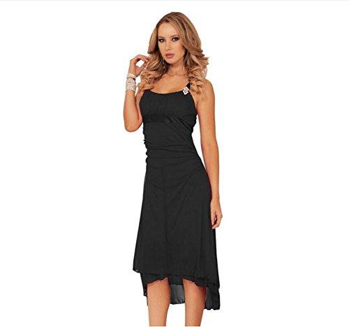 Ladies sexy strap fold irregular chiffon bow dress , black , xl (Diamond Black Ice Bow compare prices)