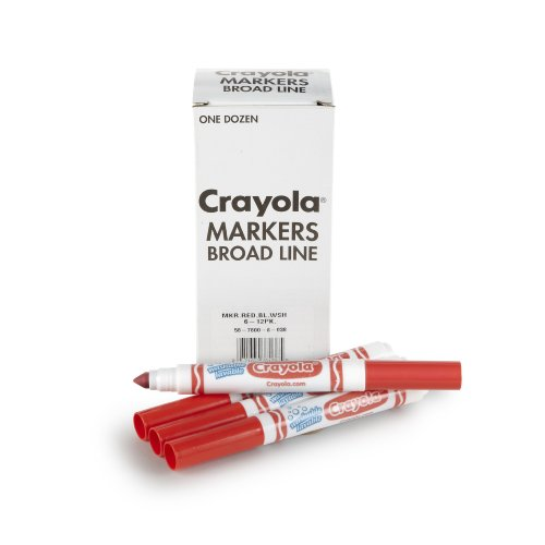 Crayola 12 Count Washable Bulk Markers, Red - 1