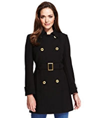 Petite Double Breasted Belted Captain Military Coat