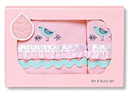 Baby Dumpling Bib and Burp Cloth Gift Set, Little Birdie