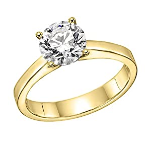 GIA Certified 14k yellow-gold Round Cut Diamond Engagement Ring (0.77 cttw, E Color, SI2 Clarity)