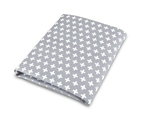 Olli & Lime Cross Crib Sheet, Gray/White - 1