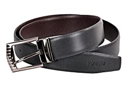 Nerita Leather Reversible Belt with Removable Buckle for Men and Boys(Leather_Black&Brown_521_FREESIZE)