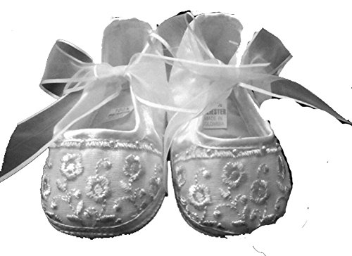 Ivory Christening Shoes, Beautiful Embroidery And Pearls , Sheer Bow Size 3
