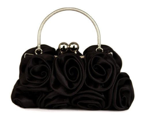 Scarleton Satin Evening Bag with Rosettes H321001 - Black