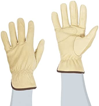 West Chester 89055 Grain Goatskin Leather Driver Glove, Work, Shirred Elastic Wrist Cuff, Women's, Natural (Pack of 1 Pair)