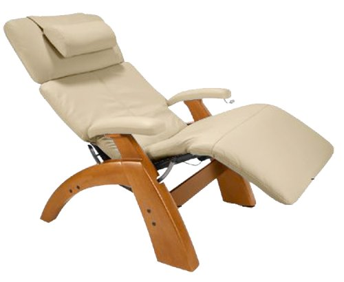 Human Touch Perfect Chair, Electric Base, With Folding Footrest Ln Maple With A Ivory Leather Cover front-289174