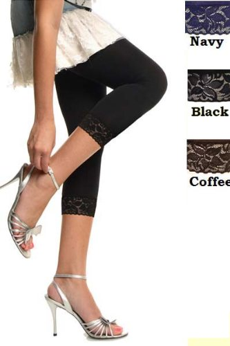 Women's Classic Capri Tights with Lace Trims 3-Pack (Wholesale Pricing) - Colors Available