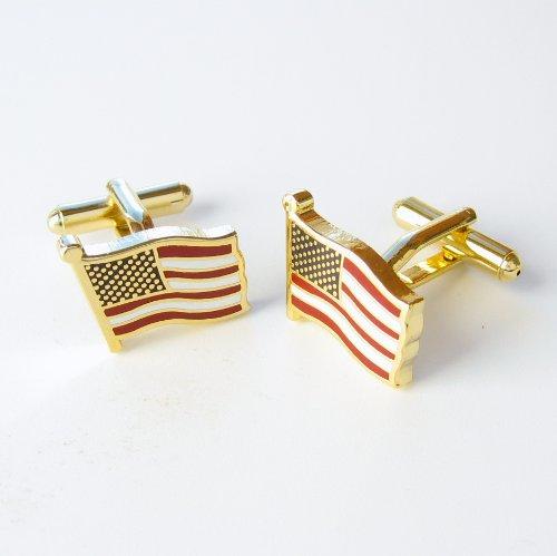 Gold USA Flag Cufflinks