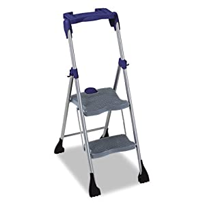 """Cosco Products - Cosco - Two-Step Steel Work Platform, 225lb Duty Rating, Platinum Gray/Blue - Sold As 1 Each - Heavy-duty, injection molded polypropylene resin steps for comfort and durability. - Deluxe molded utility tray holds paint can and tools. - One-hand fold and lock release. - Extra-large 13"""" x 12"""" top work platform. -"""